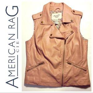 American Rag Cie moto Vest faux pink leather M